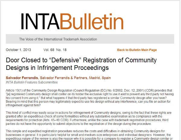 """Door Closed to """"Defensive"""" Registration of Community Designs in Infringement Proceedings"""